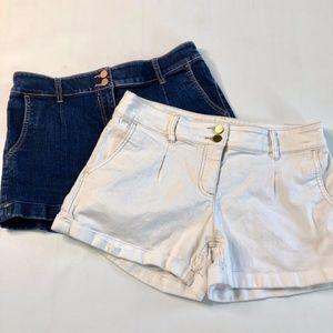 NY & Co Jean Shorts Bundle Dark Wash White